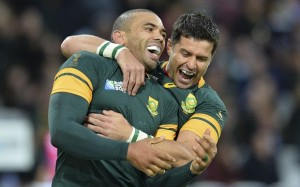 South Africa's wing Bryan Habana (L) celebrates with South Africa's fly half Morne Steyn after scoring his second and his team's sixth try during a Pool B match of the 2015 Rugby World Cup between South Africa and USA at the Olympic Stadium, east London, on October 7, 2015. AFP PHOTO / GLYN KIRK RESTRICTED TO EDITORIAL USE, NO USE IN LIVE MATCH TRACKING SERVICES, TO BE USED AS NON-SEQUENTIAL STILLSGLYN KIRK/AFP/Getty Images