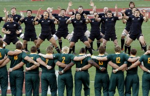 Players from New Zealand perform the Haka, or war dance, as the Springboks of South Africa accept the challenge before the Rugby Championship rugby union test match at Soccer City in Soweto, South Africa